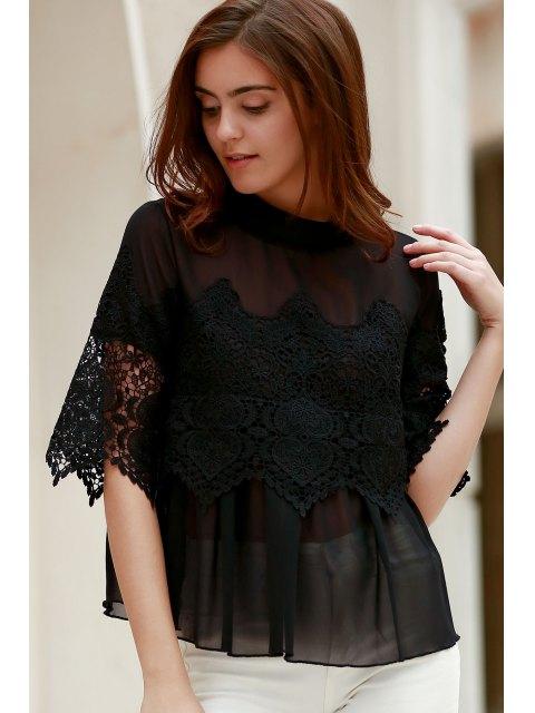 unique Lace Chiffon Splicing Round Neck 3/4 Sleeve Blouse - BLACK S Mobile