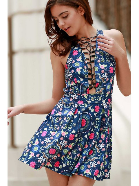 buy Flower Print Plunging Neck Sleeveless Dress - BLUE M Mobile