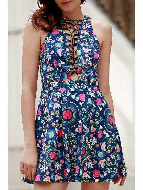 womens Flower Print Plunging Neck Sleeveless Dress - BLUE L Mobile