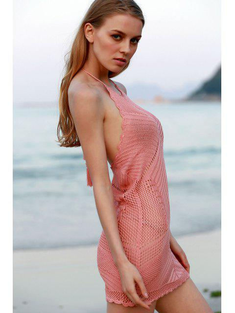 fashion Pink Crochet Halter Cover Up - PINK ONE SIZE(FIT SIZE XS TO M) Mobile
