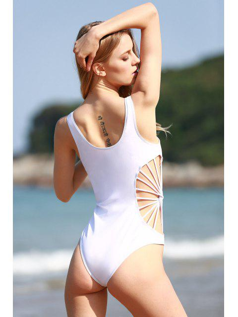 ladies Cut Out Solid Color One Piece Swimwear - WHITE M Mobile