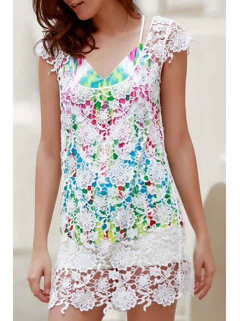 chic Backless Round Collar Solid Color Lace Cover Up - WHITE L Mobile