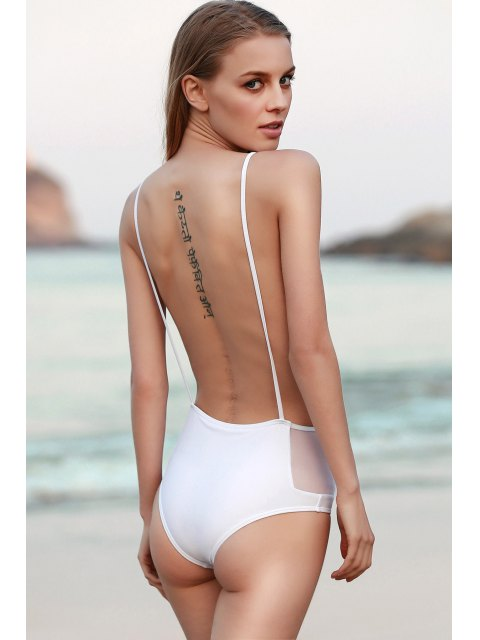 buy Backless Spaghetti Straps One Piece Swimwear - WHITE S Mobile
