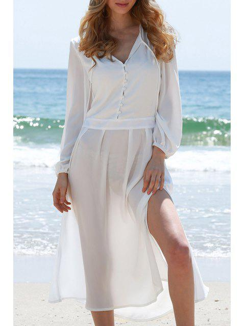 fashion High Slit Plunging Neck Lantern Sleeve Dress - WHITE M Mobile