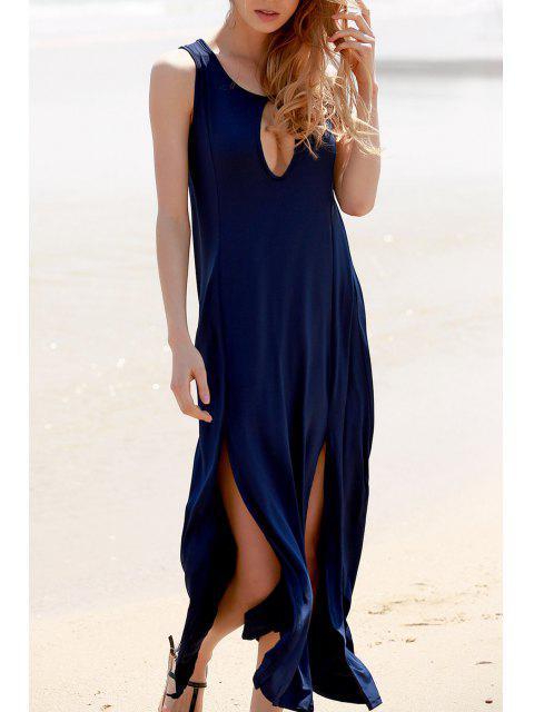 hot Keyhole Design Double Split Dress - CADETBLUE L Mobile