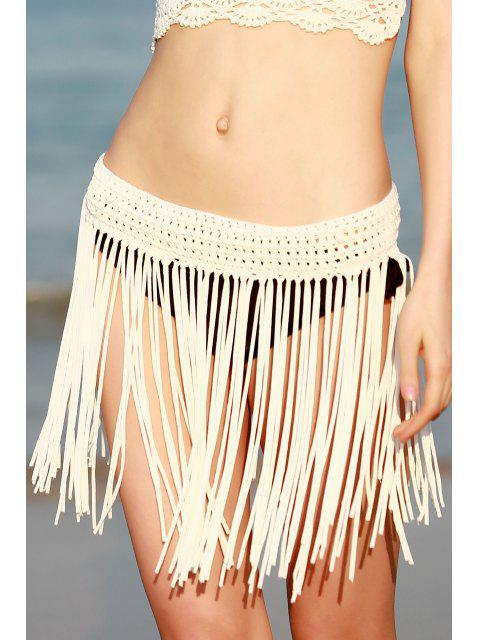 ladies Tassels Crochet Solid Color Skirt - WHITE ONE SIZE(FIT SIZE XS TO M) Mobile