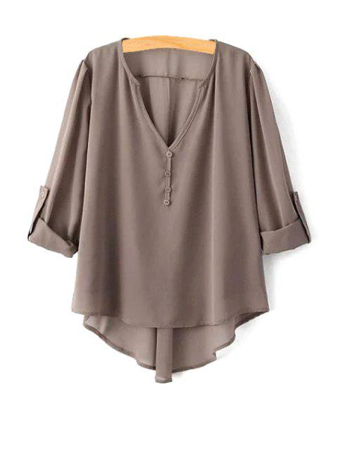 fancy High Low Hem Long Sleeve Solid Color Peasant Blouse - COFFEE S Mobile