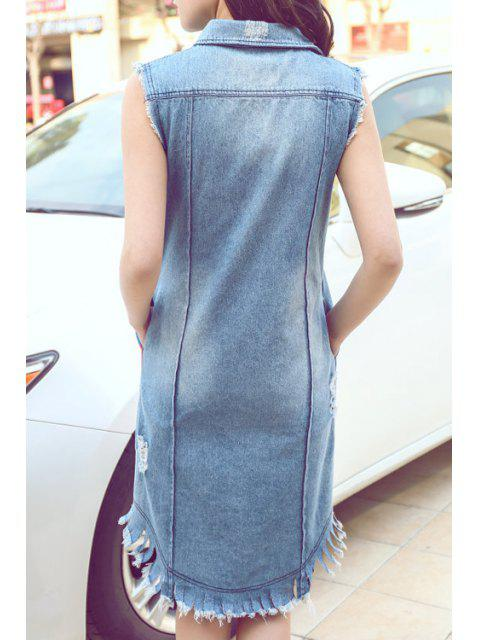 outfits Letter Print Frayed Long Waistcoat - BLUE L Mobile