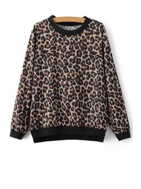 women's Leopard Print Sweatshirt - LEOPARD M Mobile