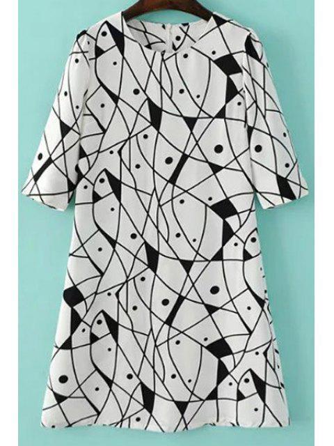 Abstrakter Druck A-Line Kleid - Weiß M Mobile