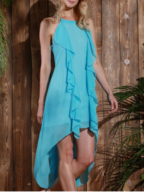 outfits Sleeveless High Low Chiffon Flowy Dress - LIGHT BLUE XL Mobile