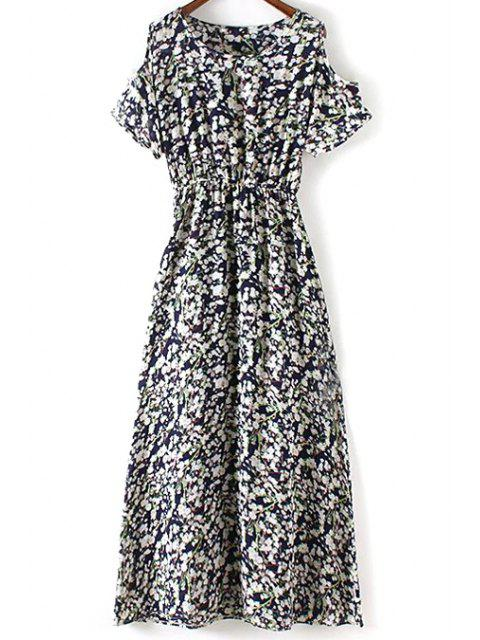 unique Tiny Flower Print Round Collar Cold Shoulder Dress - PURPLISH BLUE L Mobile