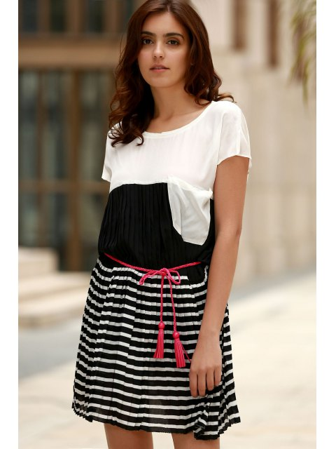 affordable Striped Hit Color Round Neck Short Sleeve Dress - WHITE L Mobile