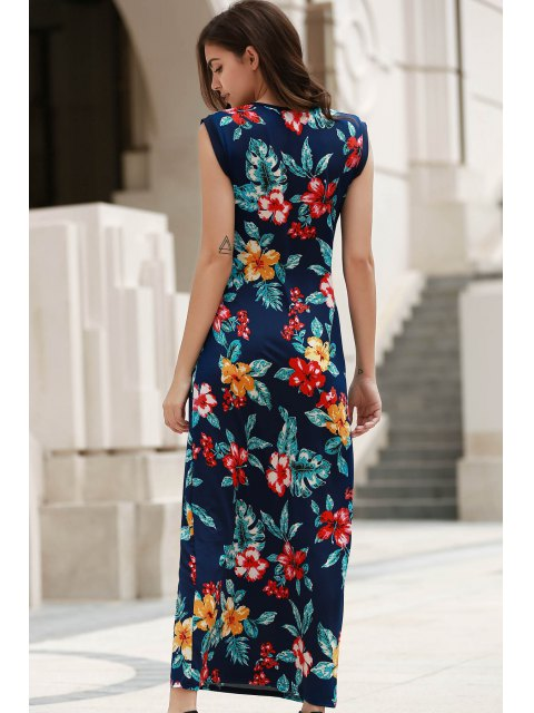 trendy Scoop Neck Tropical Print Long Dress - BLUE L Mobile