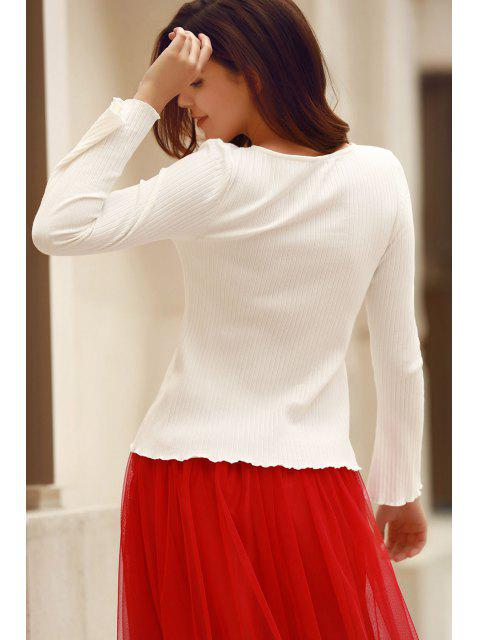 womens Solid Color Round Neck Flare Sleeve T-Shirt - WHITE M Mobile