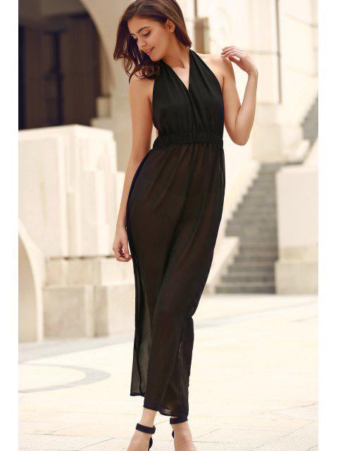outfits Black Backless Cut Out Halter Sleeveless Dress - BLACK 2XL Mobile
