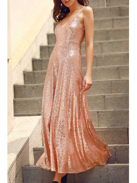 unique Backless Sequins Spaghetti Strap Maxi Dress - PINK S Mobile