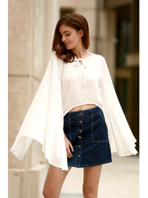 shop Lace-Up Cape Design Chiffon Crop Top - WHITE XL Mobile