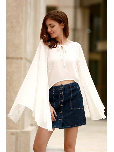 Con cordones de Cabo gasa Diseño Camisa corta - Blanco XL Mobile