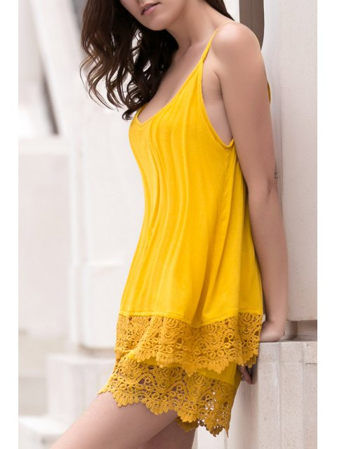 best Lace Spliced Cami Wide Leg Playsuit - YELLOW L Mobile