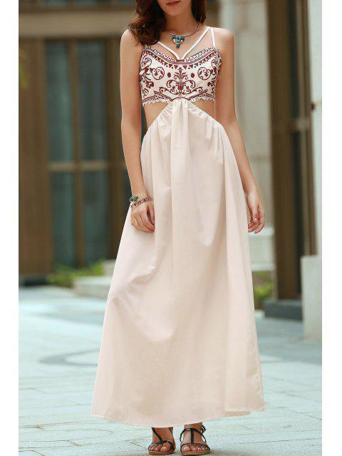 affordable Vintage Print Cami Maxi Dress - WHITE L Mobile