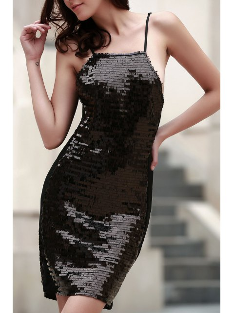 ladies Black Sequins Spaghetti Straps Bodycon Dress - BLACK L Mobile