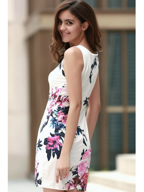womens Floral Round Collar Sleeveless Bodycon Dress - WHITE XL Mobile