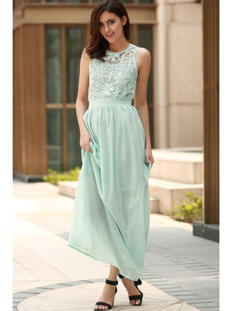 fashion Lace Splice Jewel Neck Sleeveless Maxi Dress - LIGHT BLUE M Mobile
