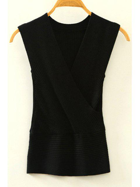 affordable Knitted V-Neck Crossed Tank Top - BLACK ONE SIZE(FIT SIZE XS TO M) Mobile
