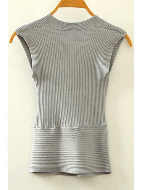 fancy Knitted V-Neck Crossed Tank Top - GRAY ONE SIZE(FIT SIZE XS TO M) Mobile