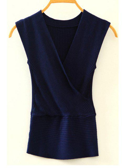 De punto con cuello en V sin mangas cruzadas - Azul Marino  Un tamaño(Montar tam Mobile