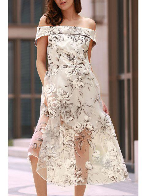 lady Off The Shoulder Floral Print Boat Neck Dress - WHITE S Mobile