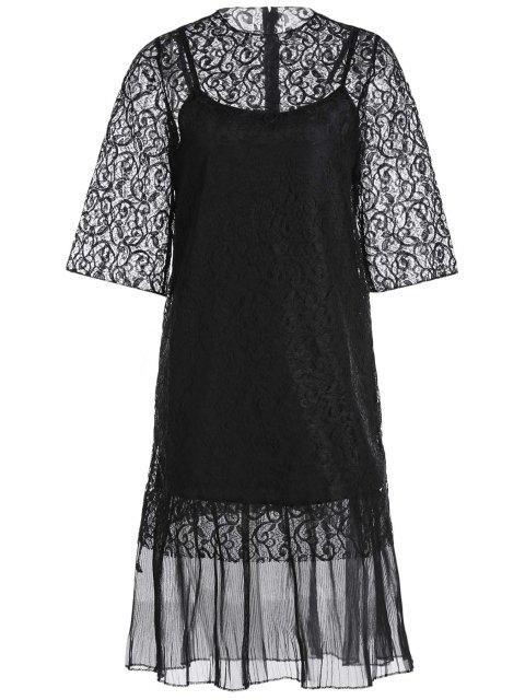 shop Openwork Lace Hook Dress + Camisole Dress Twinset -   Mobile