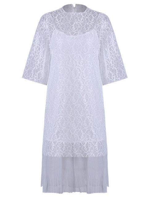 shops Openwork Lace Hook Dress + Camisole Dress Twinset - WHITE ONE SIZE(FIT SIZE XS TO M) Mobile
