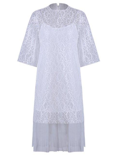 Höhles Spitze Haken Kleid + Leibchen Kleid Twinset - Weiß Einheitsgröße(Geeign Mobile