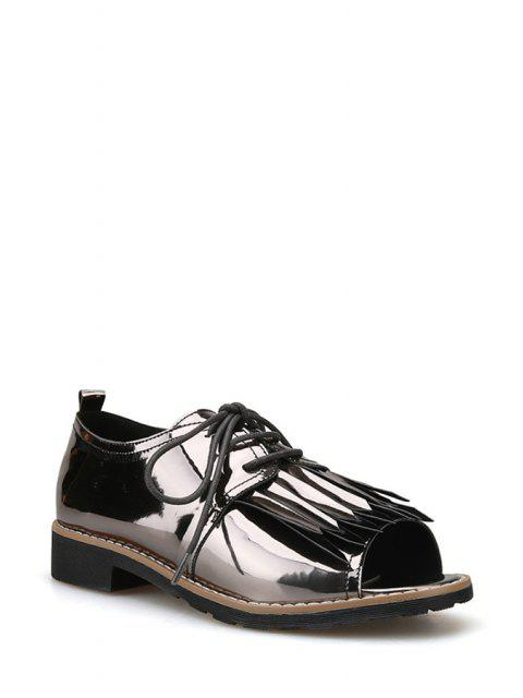 shops Fringe Lace-Up Peep Toe Shoes - GUN METAL 37 Mobile