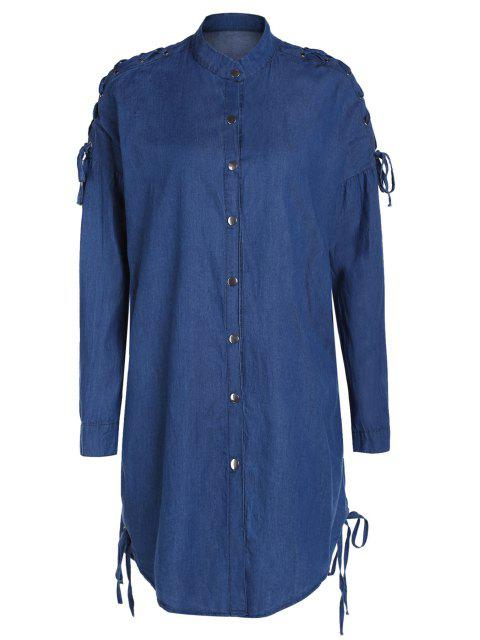 lady Denim Stand Collar Lace Up Shirt Coat - BLUE M Mobile