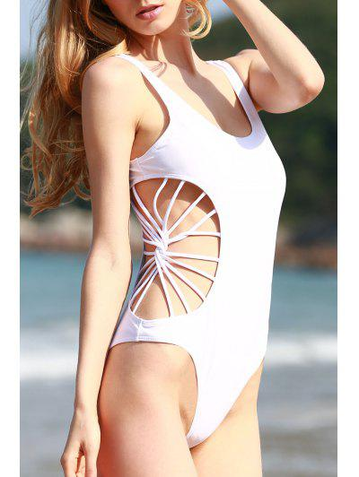 Cut Out Solid Color One Piece Swimwear - White Xl