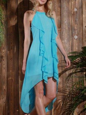 Sleeveless High Low Chiffon Flowy Dress - Light Blue L