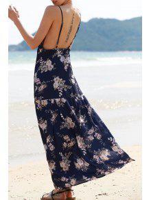 Impresión Floral Sin Espalda Vestido Largo - Azul Purpúreo Xl