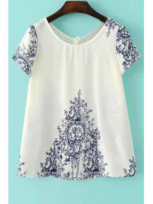 Vintage Print Scoop T-shirt à Manches Courtes Col - Blanc L