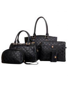 Buy PU Leather Embossing Design Tote Bag Women - BLACK