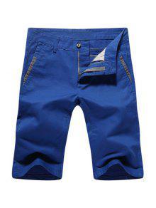 Verano Ocasional Con Cremallera Y Las Piernas Rectas Pantalones Cortos Para Los Hombres - Azul 33