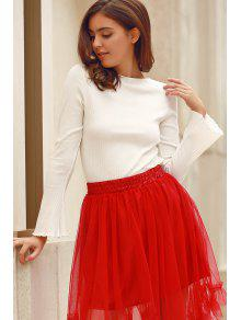 Solid Color Round Neck Flare Sleeve T-Shirt - White L