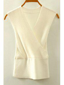Knitted V-Neck Crossed Tank Top - White