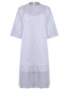 Gancho Cielo Abierto Del Cordón Dress + Camisola Vestido De Twinset - Blanco