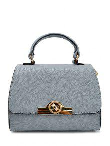 Buy Solid Color Metallic Hasp Tote Bag - BLUE GRAY
