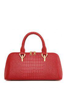 Buy Metal Crocodile Print Solid Color Tote Bag - WINE RED