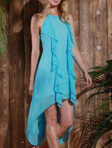 فستان بلا أكمام عالية انخفاض شيفون كشكش متدفق - الضوء الأزرق L