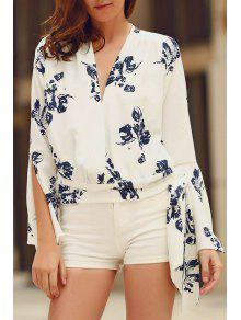Abstract Print Plunging Neck Flare Sleeve Blouse - White 2xl